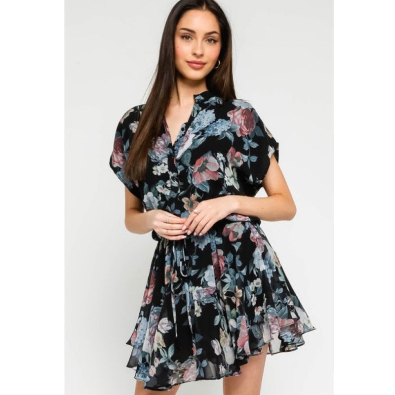 Black Floral Ruffled Dress