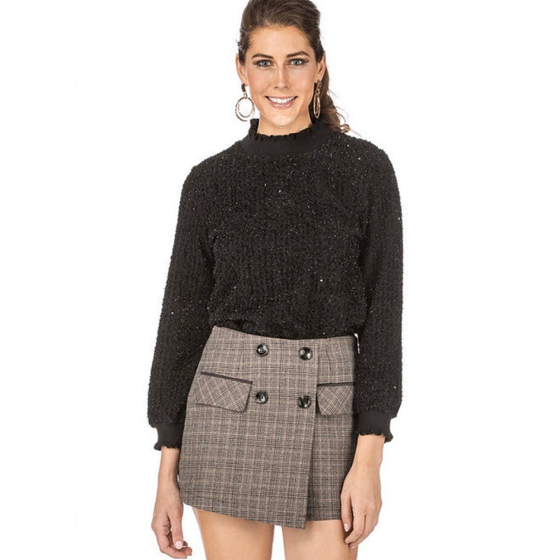 Tweed plaid skort