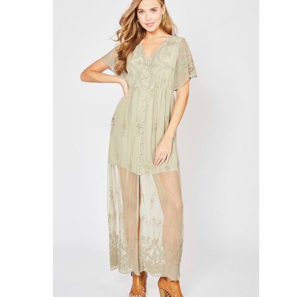 Sage lace jumpsuit
