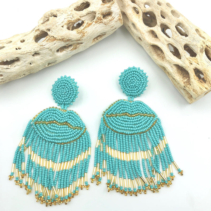 Lip tassel turquoise Earrings