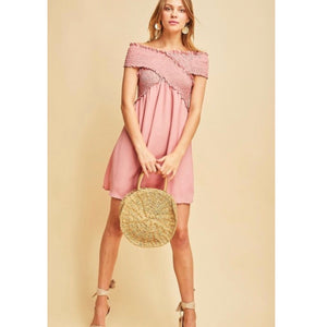 Off the shoulder blush shift dress