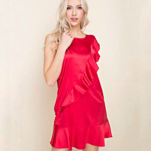 Red silk ruffle dress