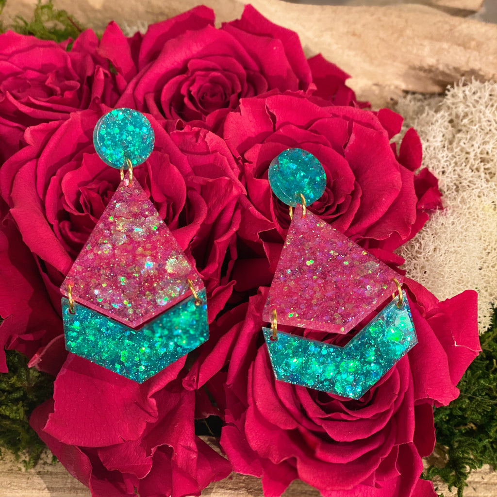Pink and teal acrylic earrings
