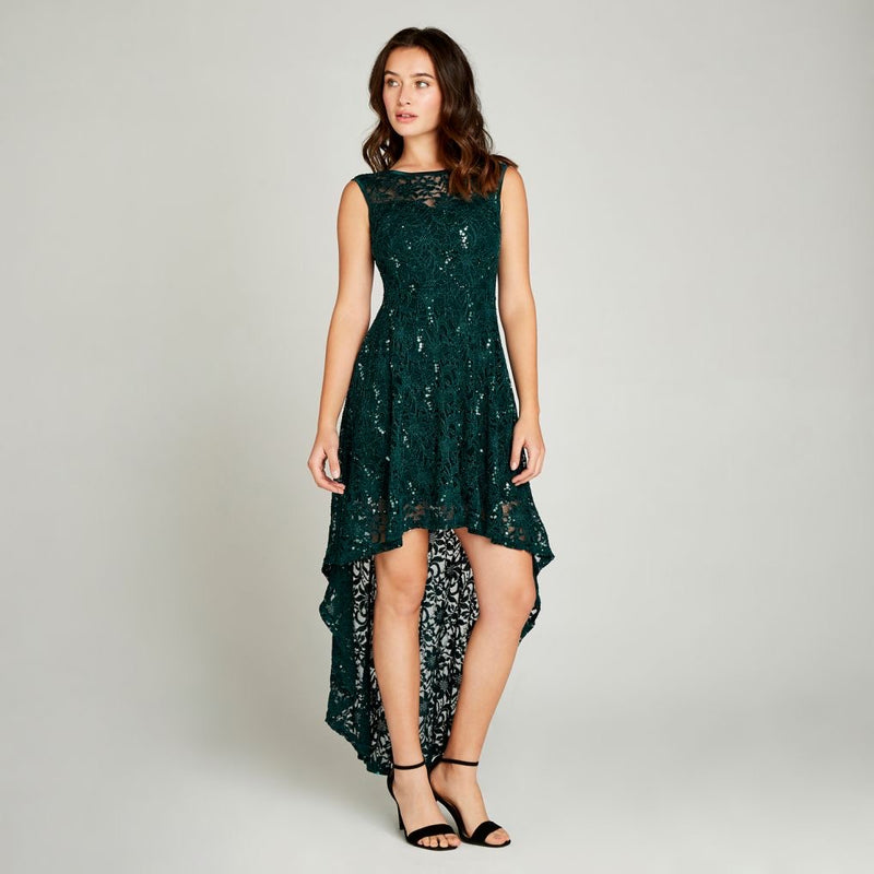 Sequin lace high low dress