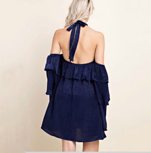 Navy Silk Ruffle Sleeve Dress