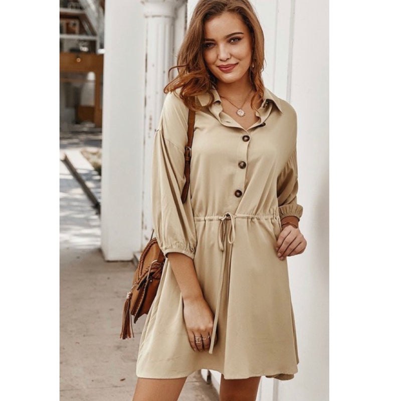Beige Tie Front Dress