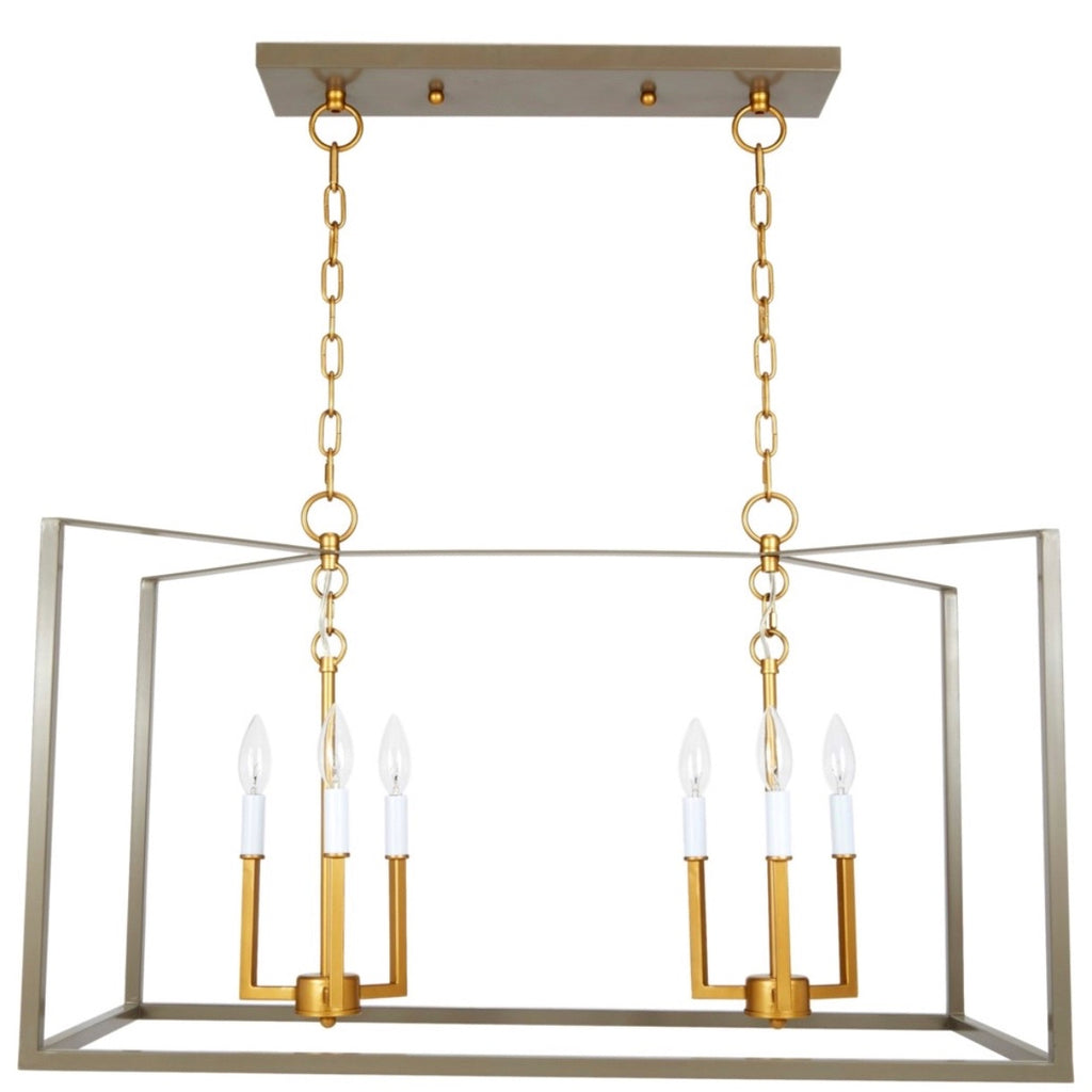 GREY AND GOLD RECTANGULAR MANNING CHANDELIER