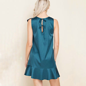 Sea Green Ruffle Silk Dress