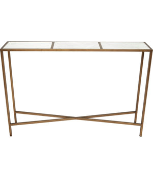 BENSON BRONZE MINI CONSOLE TABLE WITH WHITE MARBLE TOP