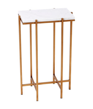 DELMAR RECTANGULAR GOLD AND WHITE MARBLE ACCENT TABLE