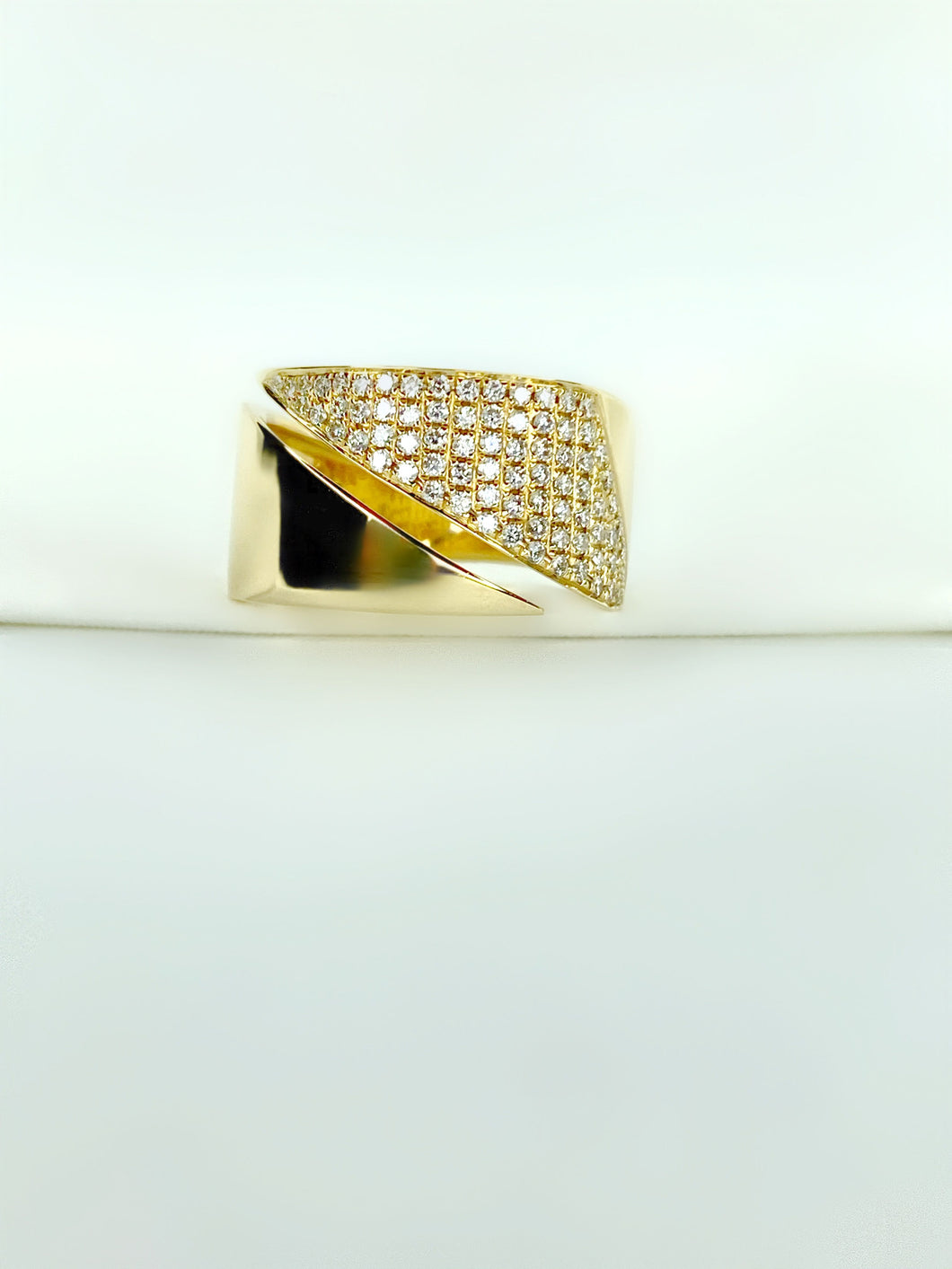 Geometric Pave Diamond Ring