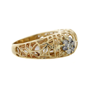 Abstract Cage Dome Ring in 14K Yellow Gold