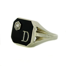 "Load image into Gallery viewer, Gents Onyx ""D"" Ring"