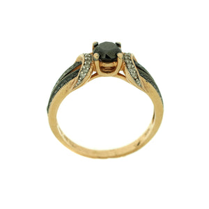 Black Diamond Engagement Ring in 10K Rose Gold