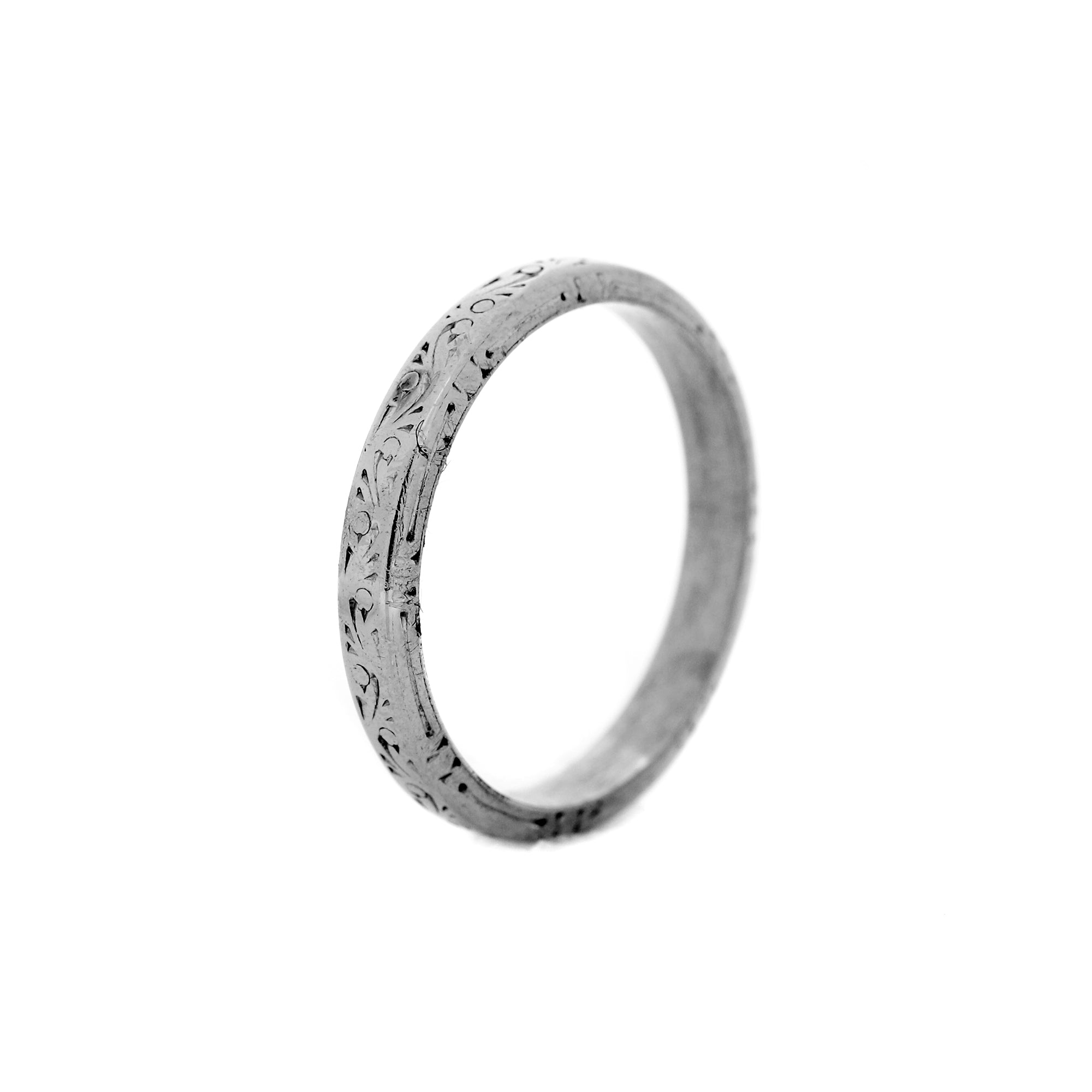 Vintage Platinum Wedding Band