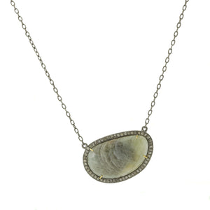 Oxidized Sterling Silver Green Sapphire Necklace