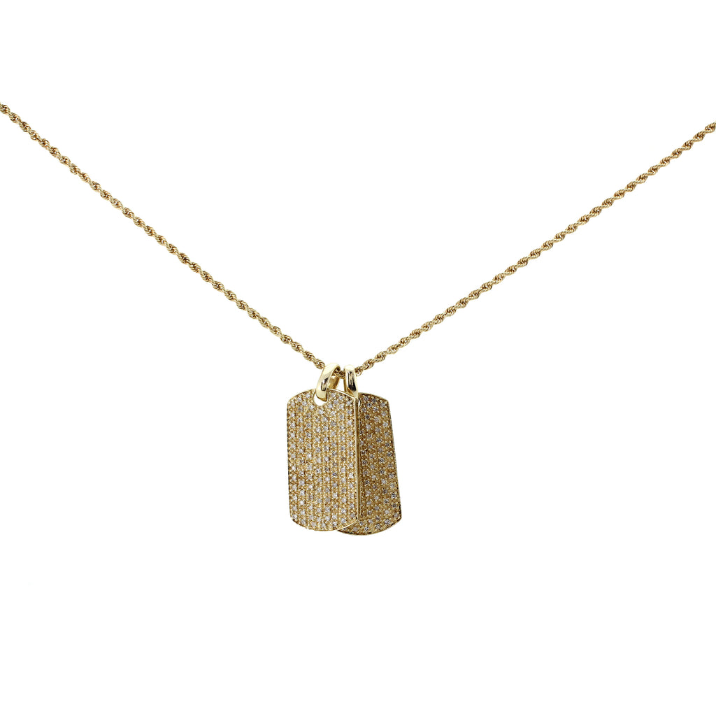 14K Diamond Dog Tag Chain