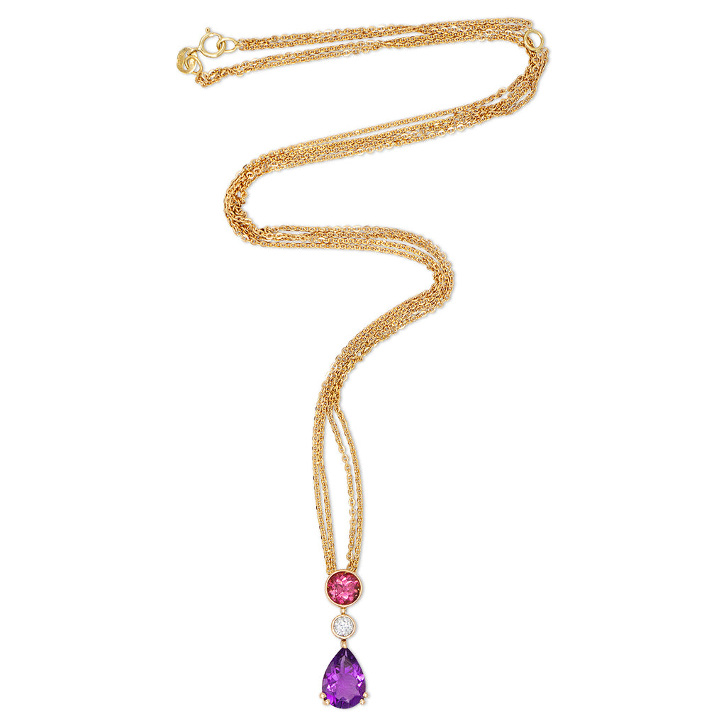Amethyst Tourmaline Necklace in 18K Rose Gold