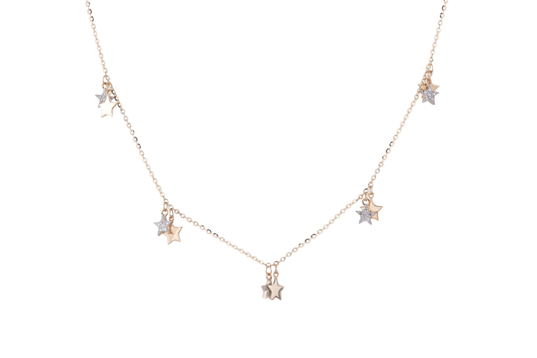 Diamond Star Lined Necklace