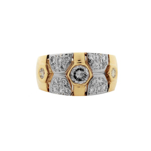 Cocktail Bezel/Pavé Ring in 18K Yellow/White Gold
