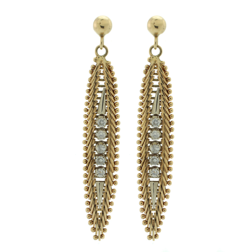 Vintage 14K Drop Feather Earrings