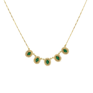Green Stone Flower Necklace