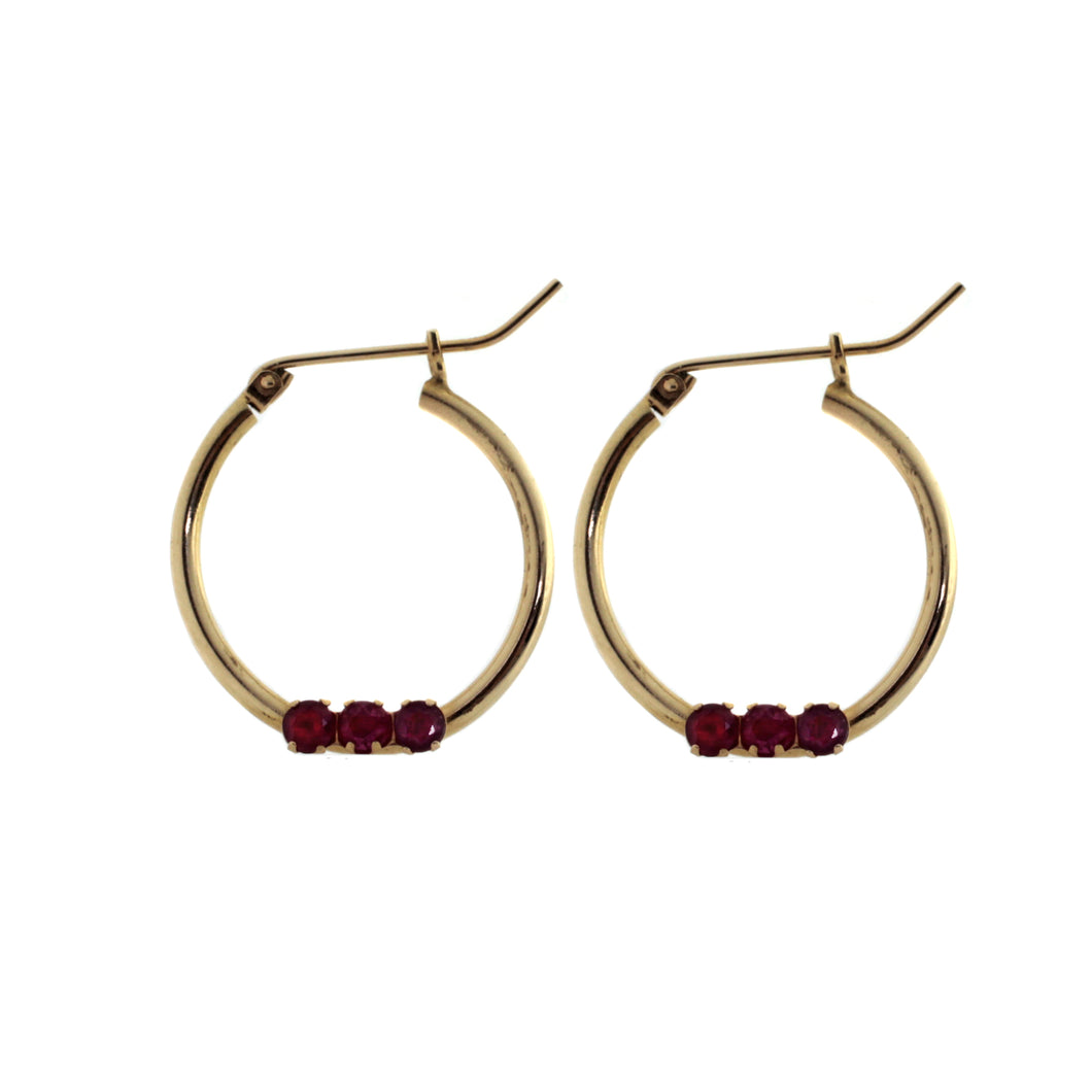 Dainty Ruby Hoops
