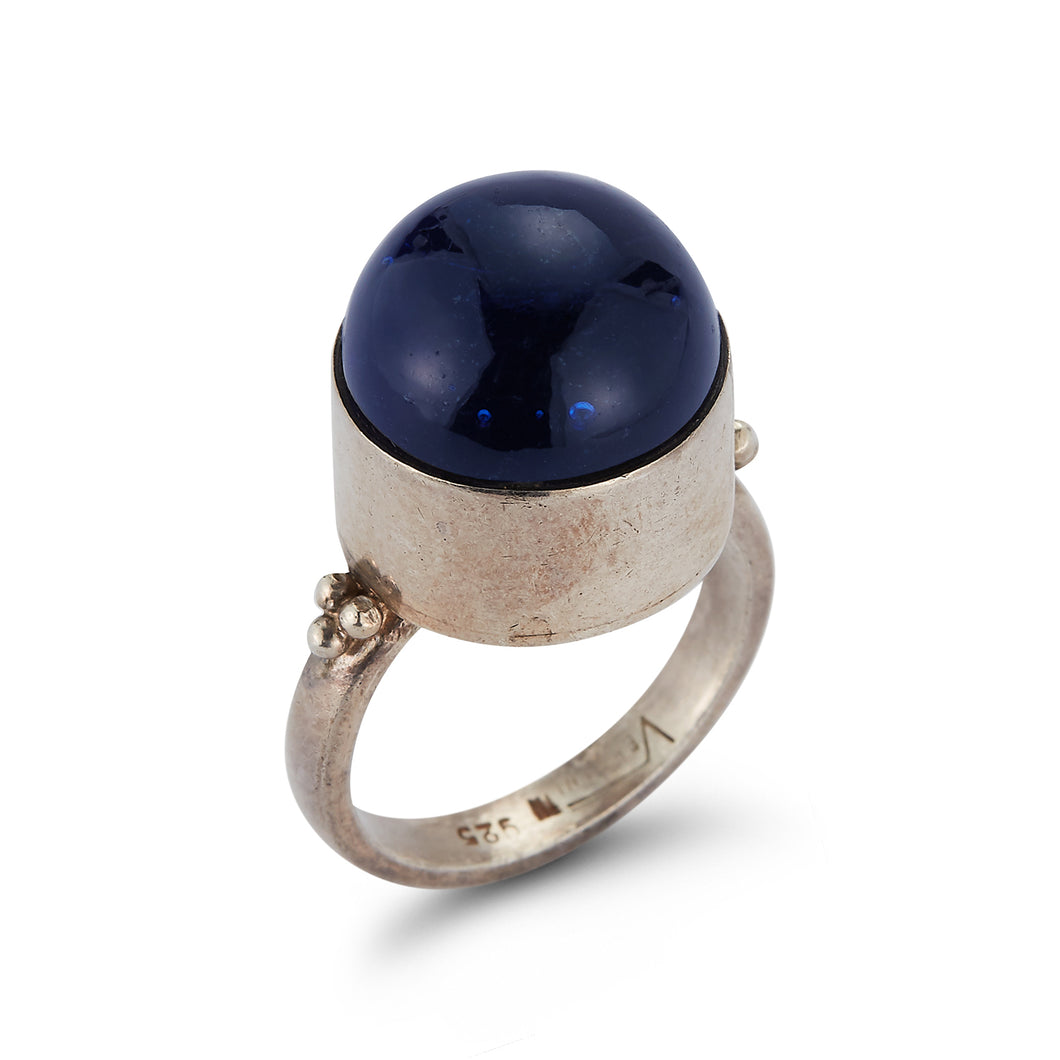 Dark Blue Cabochon Silver Ring