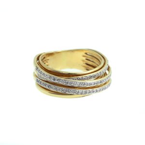 Gold Cross Over Ring