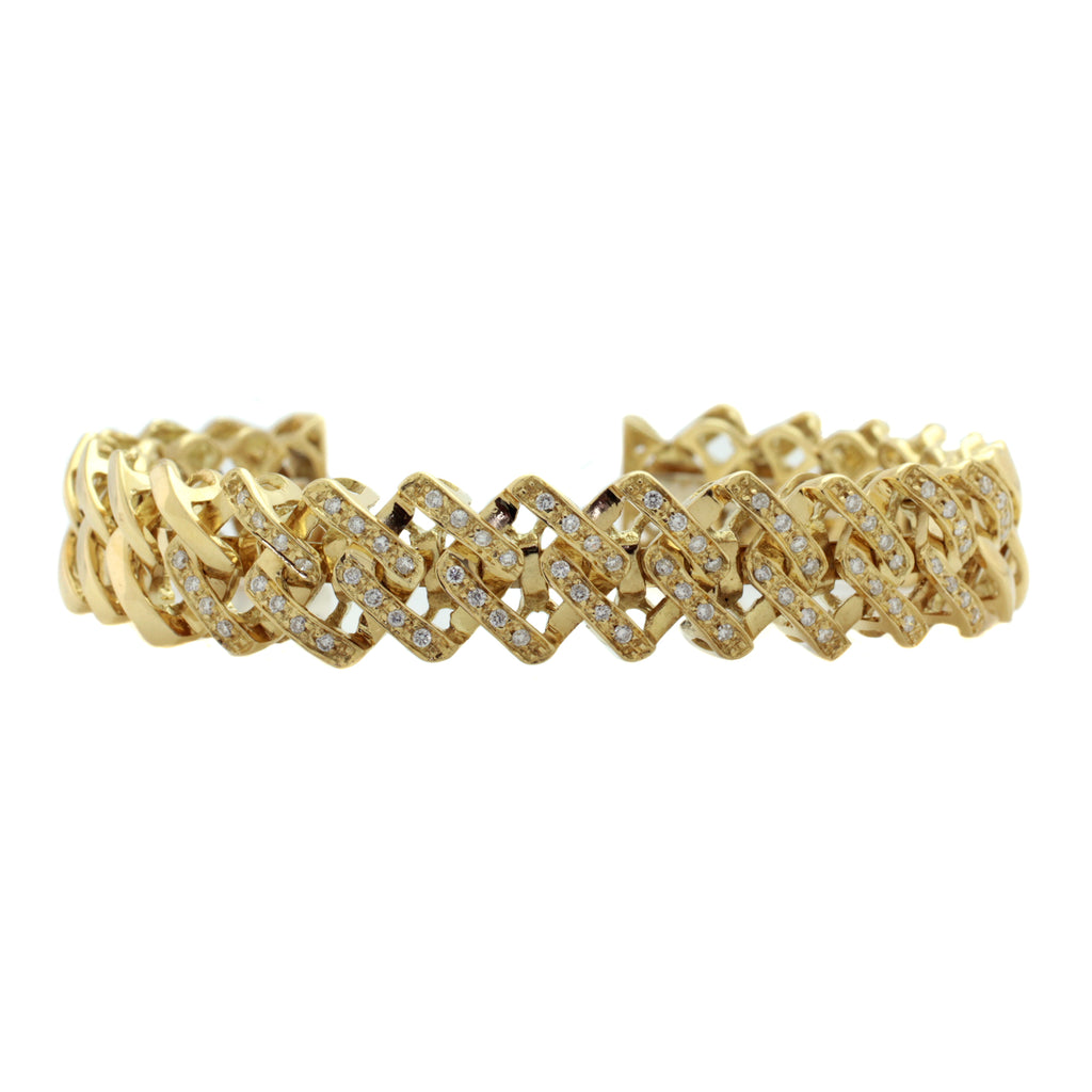 Weaved Diamond Cuff Bracelet