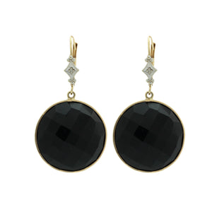 Onyx Drop Dome Earrings
