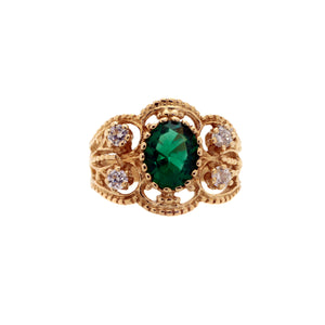 Highly Ornate Green Stone Ring