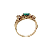 Load image into Gallery viewer, Highly Ornate Green Stone Ring