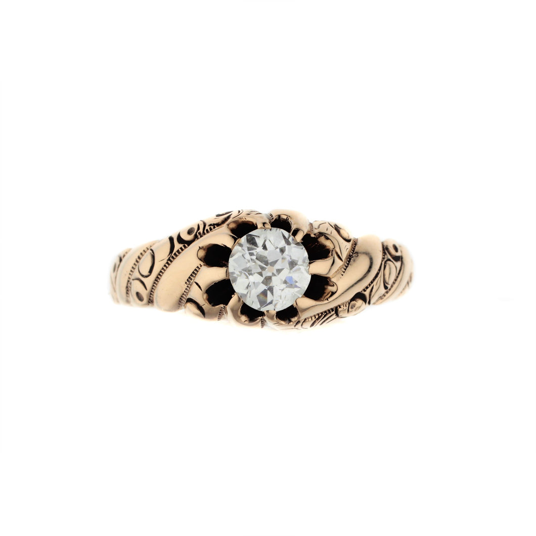 Antique Gentleman's Diamond Solitaire Ring in 14K Yellow Gold