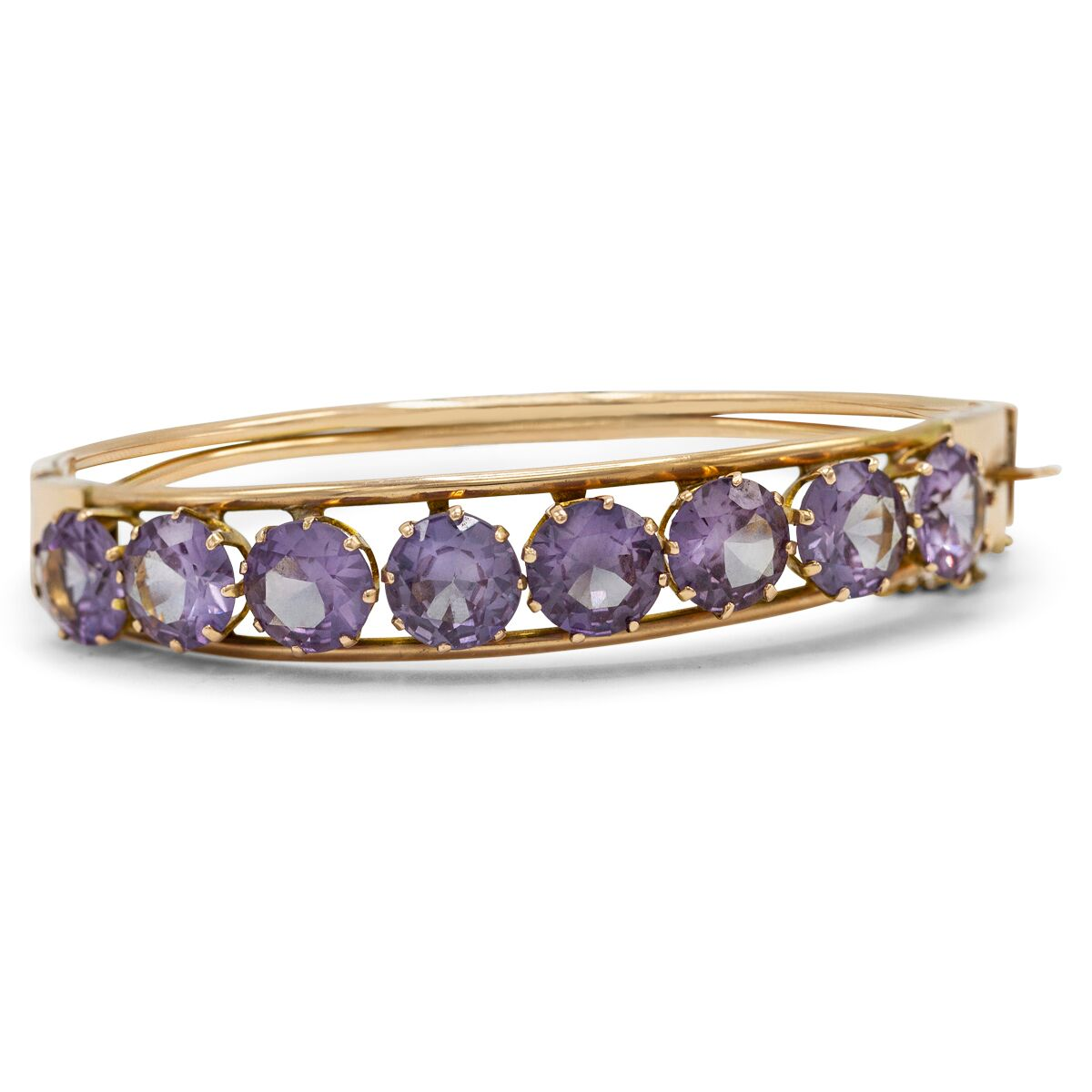 Amethyst Row Bracelet in 14K Yellow Gold