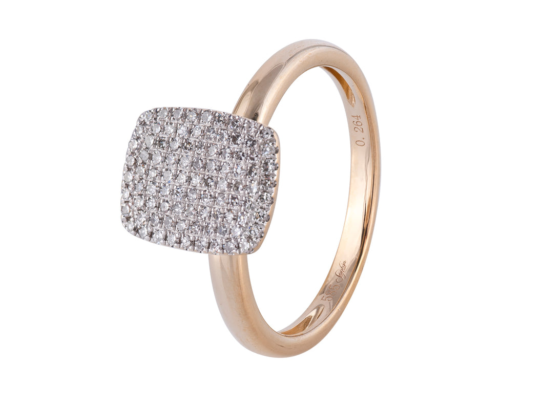Rectangle Pave Diamond Ring