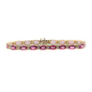 Classic Oval Pink Sapphire and Diamond Tennis Bracelet in 14K Yellow Gold