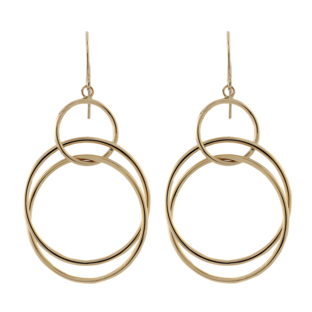 Multi-Circle Orbital Drop Earrings in 14k Gold