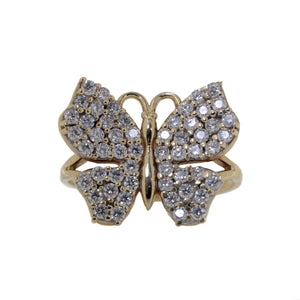 Butterfly CZ Ring in 10K Yellow Gold