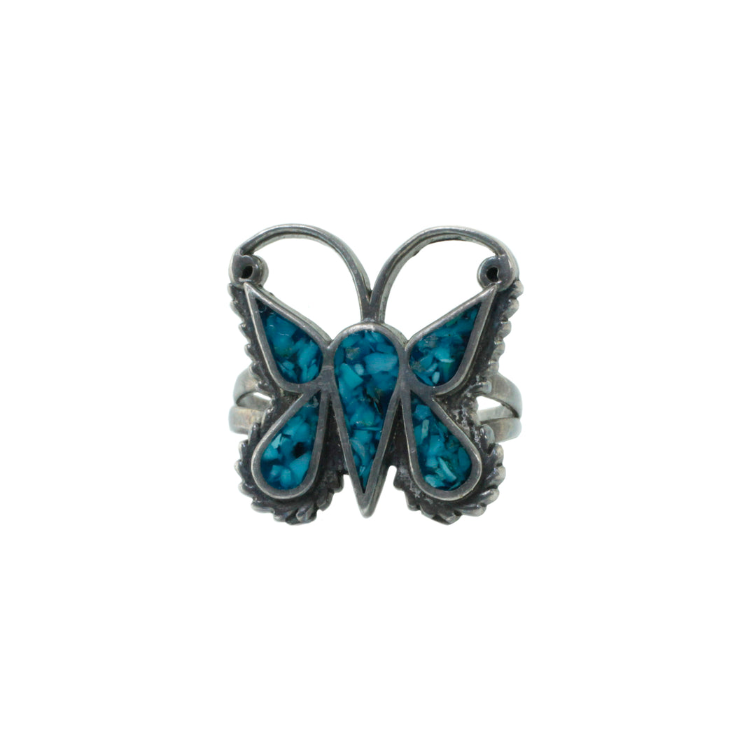 Silver Turquoise Butterfly Ring