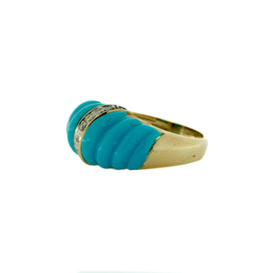 Pretty Blue Enamel Wave Ring