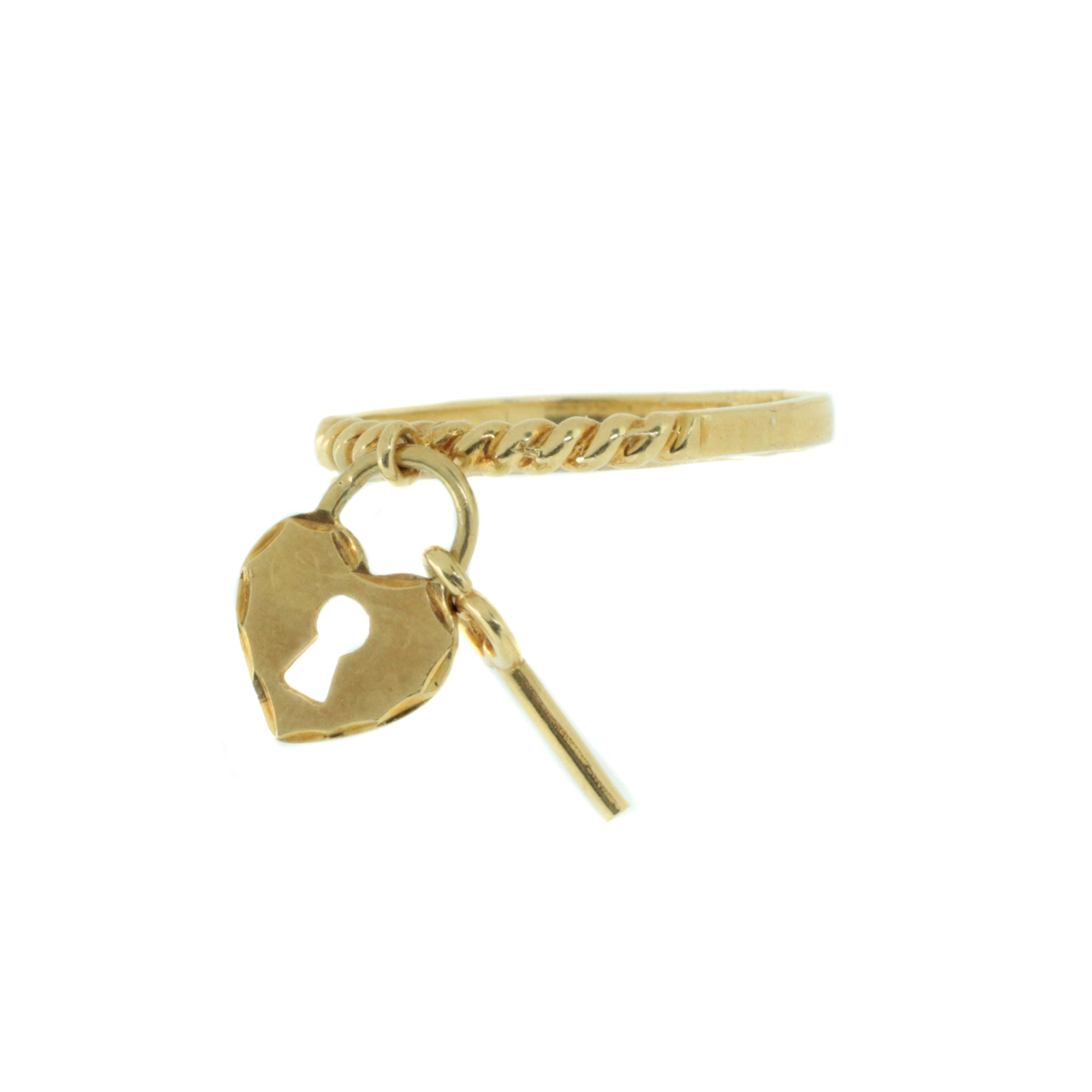 Lock & Key Charm Ring