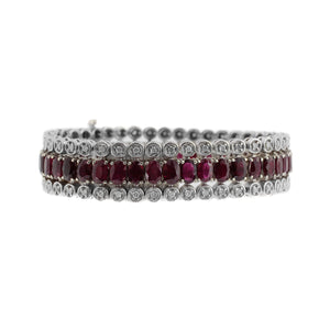 Ruby and Diamond Ornate Bracelet