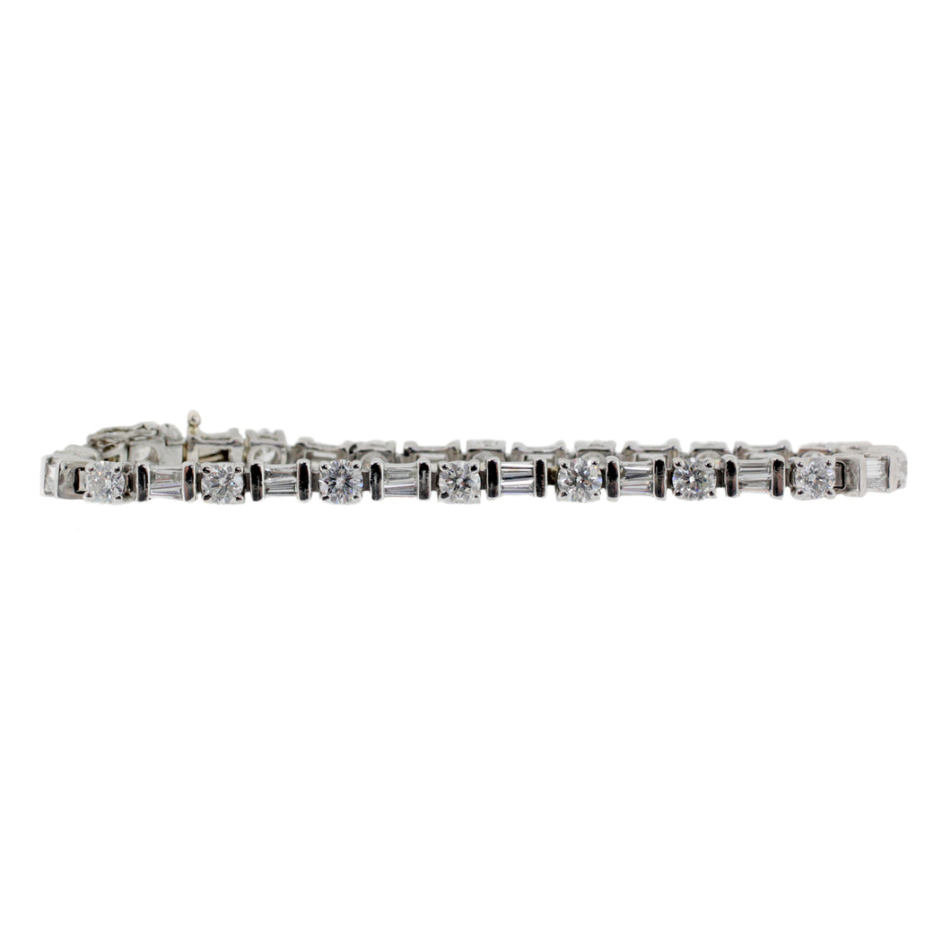 Emerald & Round Cut Diamond Tennis Platinum Bracelet