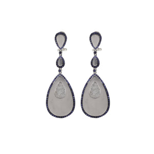 Sapphire Teardrop Disc Earrings
