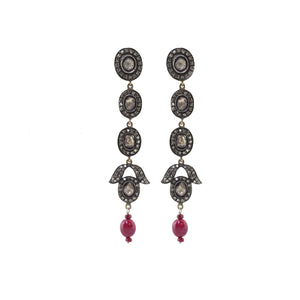Georgian Diamond Drop Earrings With Rosette Stone