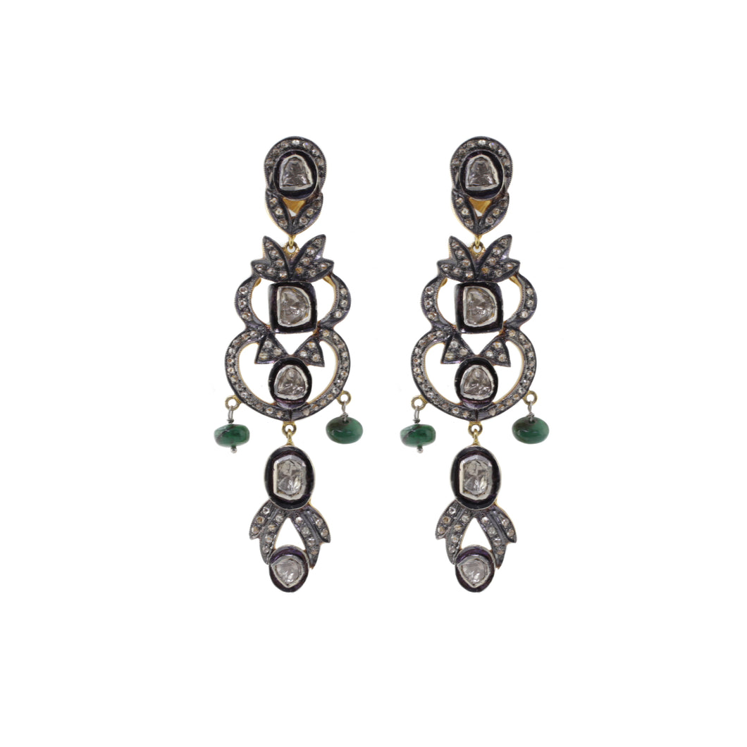 Georgian Antique Drop Diamond Earrings Green Stone
