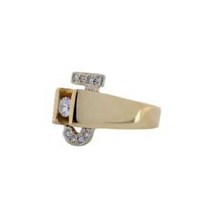 """J"" Diamond Ring in 14K Yellow Gold"
