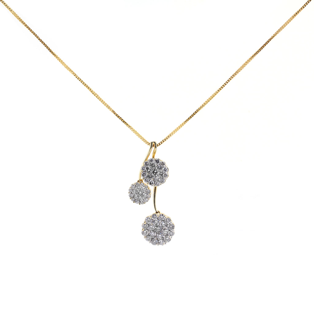 Cluster Drop Pendant Necklace in 14K Yellow Gold