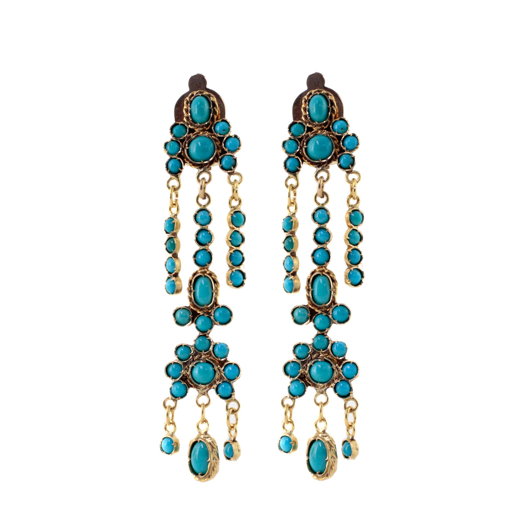 Persian Turquoise Chandelier Earrings